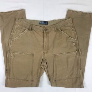 Polo RL Carpenter Pants Canvas Distressed Repaired